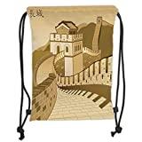 Drawstring Backpacks Bags,Asian Decor,Great Wall of China with Ancient Castle at Sunset Silk Road Barrier Old Cultural Heritage Print,Cream Soft Satin,5 Liter Capacity,Adjustable S
