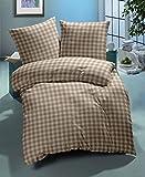 Nanette Bettwäsche Landhaus Karo 135x200 / 80x80 100% Baumwolle buntgewebt (braun)