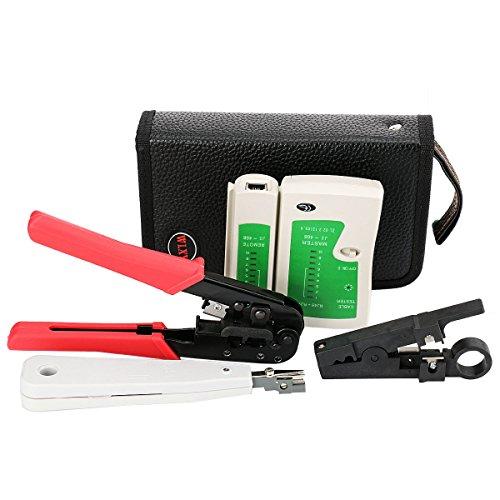 Incutex Netzwerk Werkzeug Set, Crimpzange, Kabeltester, Netzwerkstecker, Kabelschneider LAN, LSA Punch Down Tool mit Kabelschneidwerkzeug