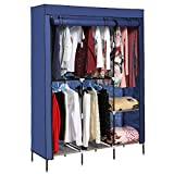 Best Home Double Rod Portable Closet Organizers - Dorfin Portable Clothes Closet Non-woven Fabric Wardrobe Double Review