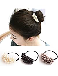 El Regalo Fabric Imitation Pearls Beads Elastic Rubber Band for Women (Multicolour) - Set of 3