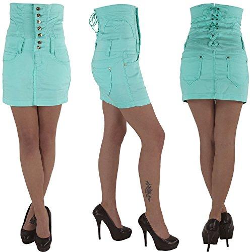 Damen Corsagen Jeans Minirock Rock Jeansrock Sommerrock Stretch Hochschnitt Türkis Türkis