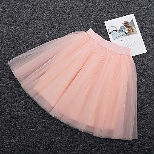 NVDKHXG 5 Schichten 60 cmmidi tüll Rock Prinzessin Frauen Erwachsene Tutu Mode Kleidung Faldas saia Femininas Jupe Sommer Stil one Size Peach