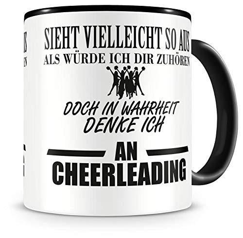 Samunshi® Ich denke an Cheerleading Tasse Kaffeetasse Teetasse Kaffeepott Kaffeebecher Becher
