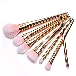 Amcool 7Pcs Set Seidig Weich Berufsbürstensatz Augen und Wangen Augenbrauen Wimpern Make-up Pinselsets(Rose Gold)