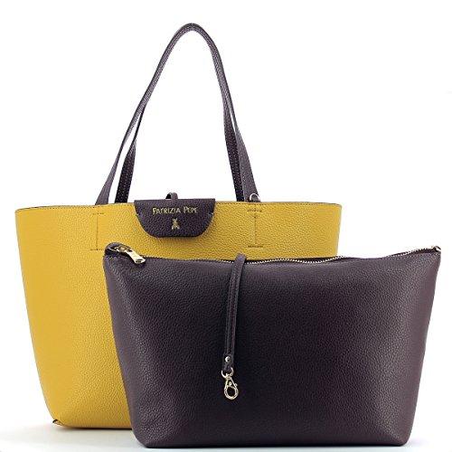 Borsa PATRIZIA PEPE shopping reversibile larg. 30 alt. 27,5 p12,5 Ecopelle nero beige violet dark yellow