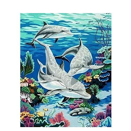 ale malerei Erwachsene Hand malerei Kinder färbung Puzzle Spiel malerei Delfin Familie Wand Dekoration malerei Geschenk für Erwachsene und Kinder 16 * 20 Zoll mit Rahmen malerei ()