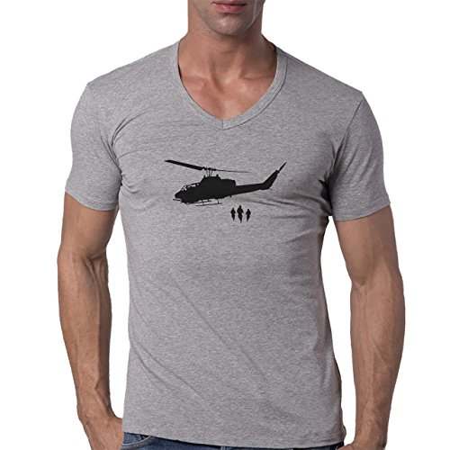 Army Helicopter Transport Wall Art Herren V-Neck T-Shirt Grau