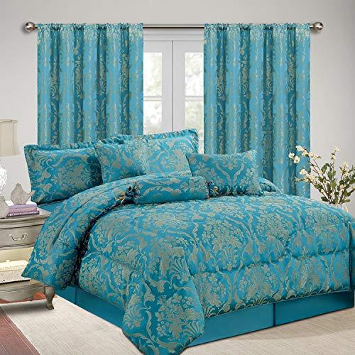 AS Jacquard, Luxus 7Stück Tröster Set, Tagesdecke & Passende Vorhänge (167,6x 182,9cm), Jaquard-Gewebe, blaugrün, Doppelbett (Xl Twin Bettwäsche-sets)