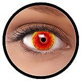 Farbige Kontaktlinsen rot Red Monster MIT STÄRKE | Ideal für Halloween, Karneval, Fasching oder Fastnacht | Inklusive Behälter von FXEYEZ | In verschiedenen Stärken als 2er Pack