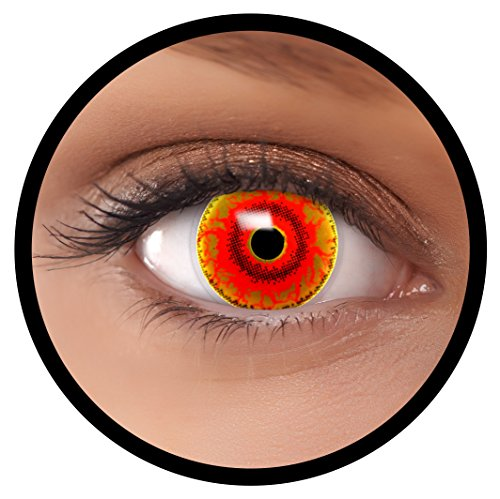 Farbige Kontaktlinsen rot Red Monster | Ideal für Halloween, Karneval, Fasching oder Fastnacht | Inklusive Behälter von FXEYEZ | Ohne Stärke als 2er Pack (Verschiedene Arten Von Halloween-monster)