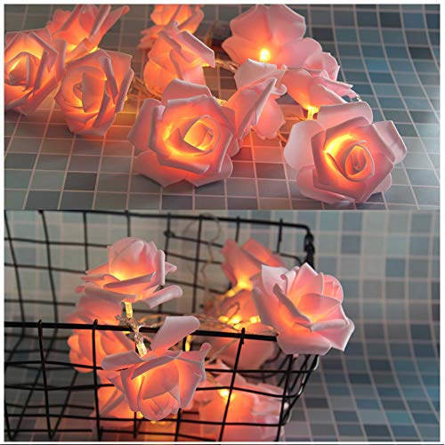 DHQSS Rose Lichter Lichterkette 2.5M 20 LED Blume Licht String Lights, Dekoration Für Innenbereich Hochzeit Geburtstag Party Valentinstag Weihnachten, Batterie Betrieben,Pinkrose,5m -