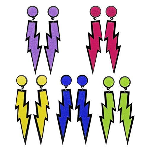 Poualss 5 Paar Mode Damen Ohrringe, zarte Neon Ohrringe zarte Anhänger Blitz Ohrringe für 1980 Retro Kostüm Party (5 - 1980 Womens Kostüm