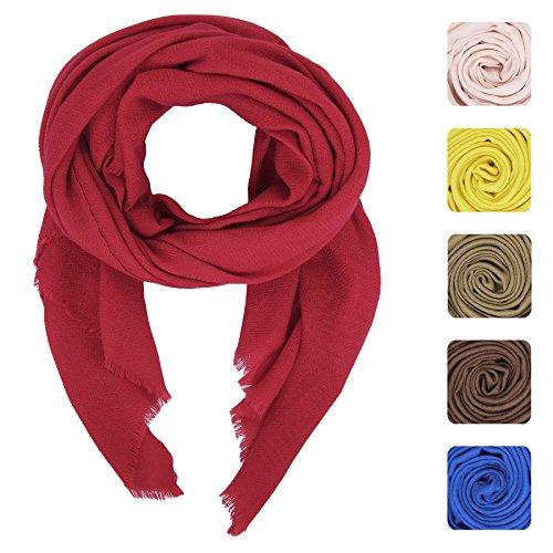 KASHFAB Kashmir Femmes Pour des hommes Hiver Mode Solide Écharpe, La laine Soie Stole, Doux Longue Châle, Chaud Pashmina Rouge