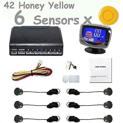 PolarLander Auto Display LCD a cristalli liquidi del sensore di parcheggio 6 Reverse sensori di parcheggio del radar di sostegno Kit sistema di rilevazione auto per tutte le auto 1set 42-giallo miele
