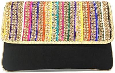 Bolso étnico negro,con solapa de colores