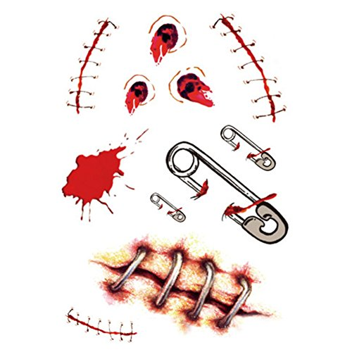 2x Demarkt Halloween Horror Tattoo Aufkleber Make up für (Gesicht Blutiges Kostüm)