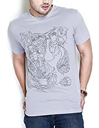 The Glu Affair Men's Cotton Dapple Grey Round Neck T-shirt
