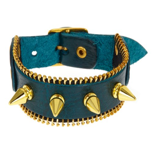 Blu pavone, stile Punk con borchie rivetti Rock'n'Roll-Braccialetto in pelle