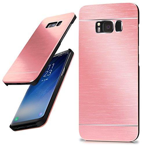 moex Samsung Galaxy S8 Plus | Hülle Dünn Rosé-Gold Aluminium Back-Cover Schutz Handytasche Ultra-Slim Handy-Hülle für Samsung Galaxy S8+ Plus Case Metall Schutzhülle Alu Hard-Case Aluminium Hard Case