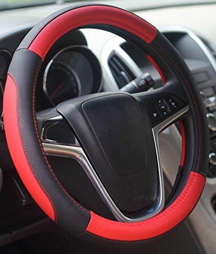 Mayco Bell Coche Fundas Para Volante 38cm Comodidad Durabilidad Seguridad (Negro Rojo)