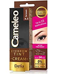 Professional Quality Cameleo Eyebrow Tint Cream Delia Cosmetics 0% Ammonia PPD FREE Up to 15 Applications & Up to 14 Days Eyebrows Highlighter (Brown)