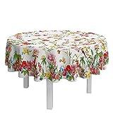 DAGOSTINO HOME Mantel Coventry, El Arte de la Mesa, 180 cm. Redondo para 6 Cubiertos, 100% Algodón, Tratamiento Antimanchas, Diseño Pintado a Mano.