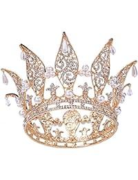 """Santfe 3""""Altura Hojas Brillantes sintética Pearl Full chapado en oro de corona Tiara Boda Prom Pageant Coronas Diadema"""