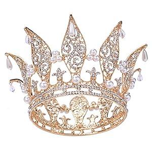 santfe 7,6cm Höhe Leaf Kristall Strass Faux Pearl Full Krone Tiara gold vergoldet Hochzeit Abschlussball Festzug Kronen Stirnband