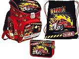Set Feuerwehr Fire 3teilig Schulrucksack Rucksack 0,9kg, Federmappe Federtasche, Schuhbeutel Sportbeutel Schulset Ranzen