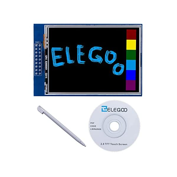 517H4E4QoBL. SS600  - ELEGOO UNO R3 Pantalla Táctil TFT DE 2,8 Pulgadas con Tarjeta SD con Todos Los Datos Técnicos en CD para Arduino UNO R3