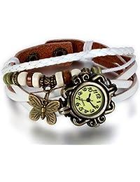 Jewelrywe Joyas Pulsera de cuero de las mujeres, retro vintage reloj de pulsera hermosa, Pulsera Látex Diseño ajustable con mariposa (blanco)