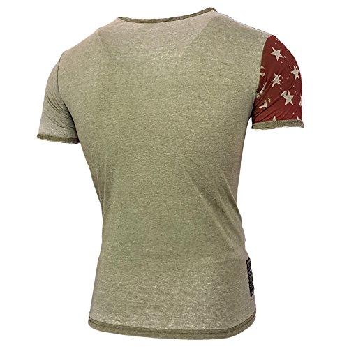 Rusty Neal Herren V-Neck T-Shirt Kurzarm Hemd Slim Fit Design Fashion 15046 NEU 6706 Olive