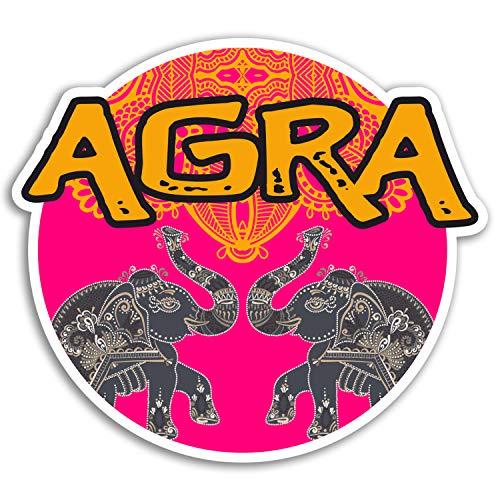 2 x 10cm Agra pegatinas de vinilo - elefante de la India engomada rosada del equipaje portátil # 18219 (10 cm de ancho)