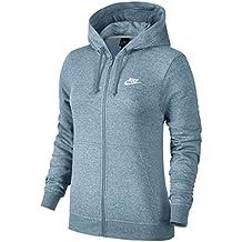 Nike W NSW Hoodie FZ FLC Sudadera, Mujer, Azul (Ocean Bliss/White), L