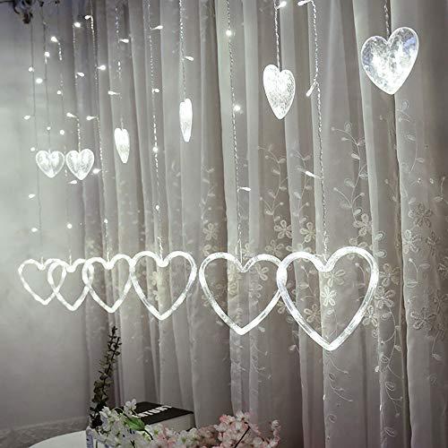 TianranRT LED Herzförmig Hängen Vorhang Beleuchtung Schnur Netz Weihnachten Zuhause Party Zuhause Dekor (Weiß)