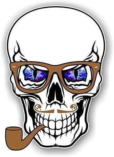 Hipster Stil KOPF Design weiß blau Teufel Eyes Brille & Rohr NEUHEIT Vinyl Auto Aufkleber 100x70mm