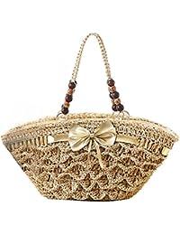 donalworld femmes tissé Fleur d'été décontracté sac de paille plage Cordon dentelle Frange Sac à main - Beige - beige,