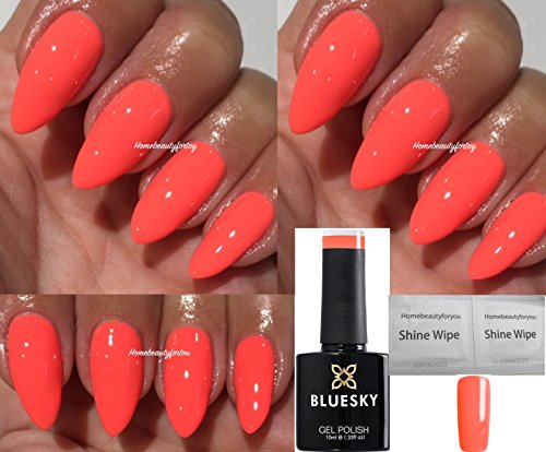 BLUESKY qx1631Summer Coral Nagellack-Gel UV-LED-Einweichen Plus 2homebeautyforyoul Shine Tücher