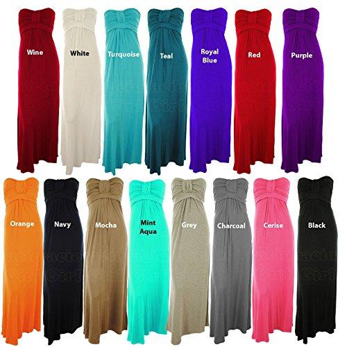 Arcene Frauen Plus Size Knot Büste Jersey Boobtube Bandeau Damen Maxi Kleid Türkis
