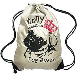 BabySmiles–Mochila plateado Pug Reina tema cordón bolsa de natación, la escuela, PE para niñas y niños