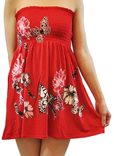 Chocolate Pickle® Nouveau Dames Papillon Floral Décapage Haut Boobtube Floral Mini Tops 36-48 red
