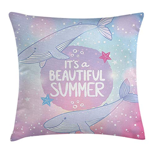 Pillow Cushion Cover, It's A Beautiful Summer Motivational Quote on Cosmos Starfish Girls Kids Print, Decorative Square Accent Pillow Case, 18 X 18 Inches, Lilac Pink Blue ()