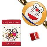 Cute Doraemon Rakhi with Roli, Chawal & ...