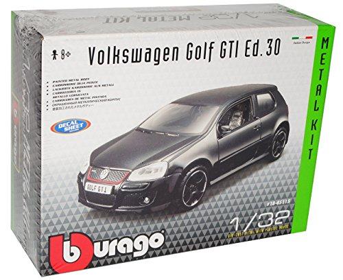 VW Volkswagen Golf V 5 GTI 3 Türer Schwarz 2003-2008 Bausatz Kit 1/32 Bburago Modell Auto mit individiuellem Wunschkennzeichen