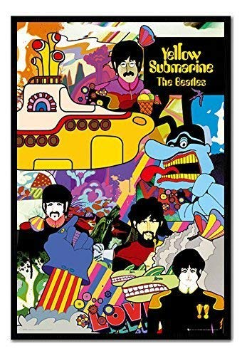 iPosters The Beatles Yellow Submarine Poster Magnettafel, schwarzer Rahmen, 96,5x 66cm (ca. 96,5x 66cm) - Beatles Yellow Submarine Magnet