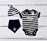 Maritimes Baby Set Wal - fair - Newborn - Body & Mütze Wal & Halstuch Anker maritime Babykleidung