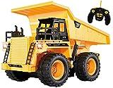Top Race® Camión Volquete CR, 5 Canales, Completamente Funcional, Control Remoto de Batería, Camión Volquete Amarillo Con Luces y Sonido (TR-112)