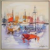 Original Gemälde Öl auf Leinwand Boote Schiffe Hafen Meer Ölgemälde Bild 84x84cm
