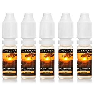 5 x 10ml Elvapo Premium E-LIQUID - Tabak - Cuba Breeze - für E-Zigaretten - 0mg (ohne Nikotin) - Made in Germany/EU! Aroma Liquid E-Shisha